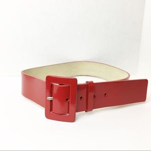 SZ Small Red Nine West Patent Leather Belt